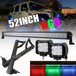 52 Rgb Led Light Bar 4 18w Pods Mount Bracket Fit Jeep Wrangler Jk 07 18
