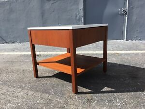Florence Knoll Nightstand Table Cabinet Walnut White Top