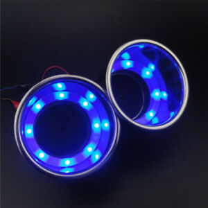 2 Car Suv Blue 8 Led Light Cup Drink Holder Stainless Steel For Rv Marine Boat