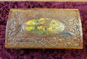Vintage Carved Wood Cottage Scene Jewelry Footed Lock Box 10 3 4