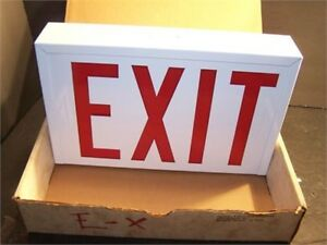 Set Of 2 Commercial Electric Exit Sign Metal Case 7 X 11 New In The Box