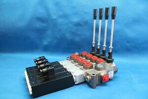 New Hydraulic Bank Motor 4 Spool Valves 120 L min Electric 12v Trailer