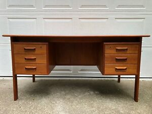 Mid Century Modern Desk Teak Danish Executive Floating Mcm 1960s Holger Sorensen