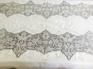 Antique Vintage Italian Embroidered Linen Reticella Lace Table Cloth 100 X65