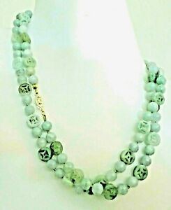 Antique Vintage Deco Chinese Jadeite Jade Beads Coin Abundance 14kt Necklace 34