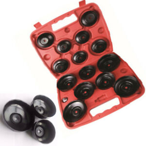 14pcs Cup Style Oil Filter Wrench Flute Tool Set 65mm 100mm Cap Kit Carbon Steel