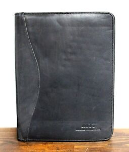 10 x13 Black Real Leather Beige Suede Interior Zip Planner Organizer Portfolio