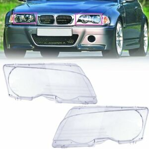 Pair Clear Front Headlight Lens Cover For Bmw E46 323ci 325ci 328ci M3 99 06 Us