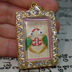 Genuine Kruba Krissana King Butterfly Image Salika Bird Love Thai Buddha Amulet