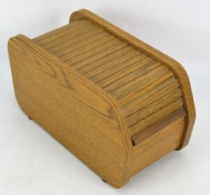 Vintage Faux Wood Sliding Roll Top 3 5 Floppy Disk Storage Organizer File Box