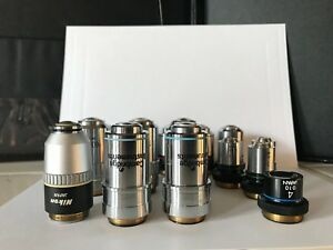 Lot Of 15 Microscope Objectives Nikon Cambridge Unbranded Pl 100x 40x 10x 4x Php
