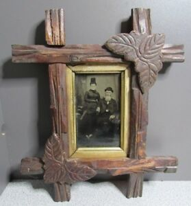 Antique Tramp Adirondack Gold Gilded Wood Carved Leaves Picture Frame Tin Type