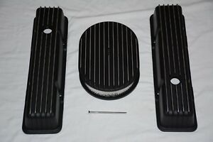 Black Aluminum Chevy Finned Tall Valve Covers 12 Air Cleaner 283 305 350 Sbc
