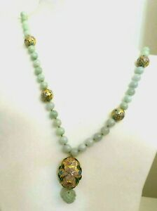 Vintage Antique Chinese Jadeite Beads Cloisonne Enamel Necklace 26