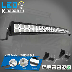50inch Curved 288w Led Light Bar Combo Beam Offroad Truck 4wd Suv Drl Boat 48 52