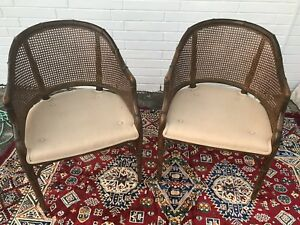 Faux Bamboo Barrel Cane Pair Of Club Lounge Chairs Hollywood Regency