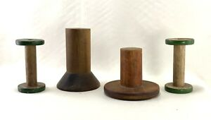 Antique Mill Spools Candle Or Lamp Holders Lot Of 4