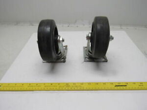 6x2 Rubber On Cast Iron Swivel Caster 4 1 2x4 Plate Lot Of 2