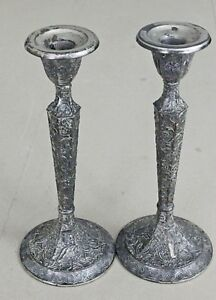 Silver Plate Ornate Candlesticks Derby Sp Company 10 Tall