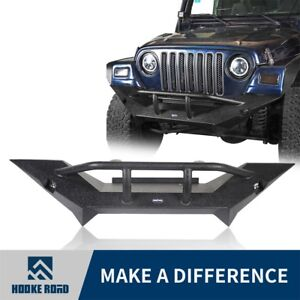 New Style Front Bumper W Winch Plate Led Lights For 1997 2006 Jeep Wrangler Tj