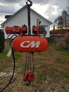 Columbus Mckinnon 2 Ton Electric Wire Rope Hoist With Motorized Trolley