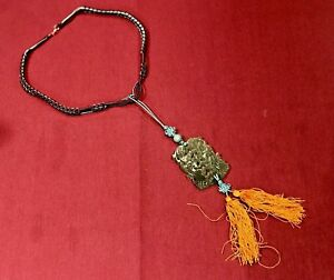 Vintage Chinese Jade Carved Green Charm Pendant Necklace With Tassel