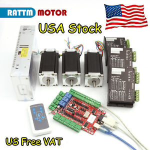 us 3 Axis Nema 23 Dual Shaft Stepper Motor 425oz in 4a Driver Usb Board Cnc Kit