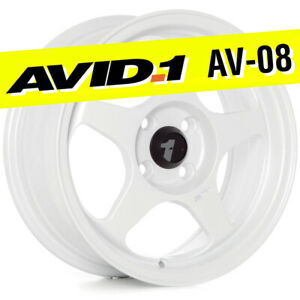 Avid 1 Av 08 15x6 5 Gloss White 4x100 35 Wheels Set Of 4 Spoon Style Jdm Rims