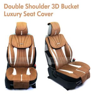 Double Shoulder 3d Bucket Ultra Suede Luxury Seat Cover Brown 1ea For All Car