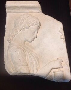 Ancient Greek Real Wall Fragment Plaque Relief Goddess Natural Remedies Panacea