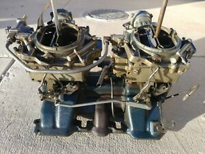 1955 Cadillac Eldorado Dual Quad 2x4 Intake 1463205 With Rochester Carburetors