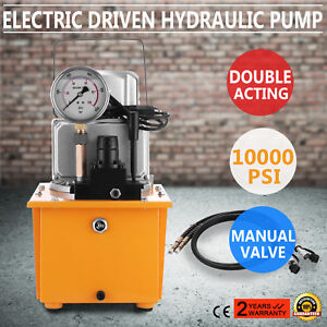 Electric Hydraulic Pump Manual Valve 2 Stage Double Acting 110v 10k Psi 8l Cap