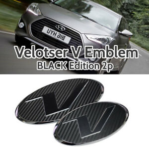V Emblem Black Style Front Grille Rear Trunk For Hyundai 11 17 Veloster Turbo