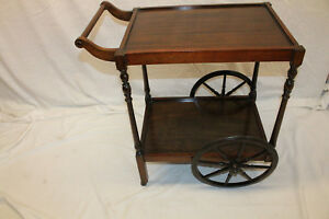 Charming English Mahogany Serving Table Tea Cart C 1920