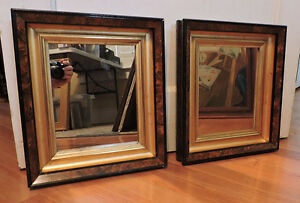 Antique Pr Victorian Eastlake Wide Gilt Gold Liner Picture Frames Mirrors 8 X 10