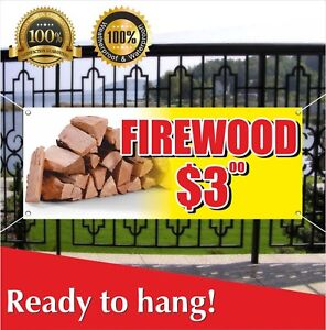 Firewood 3 Banner Vinyl Mesh Banner Sign Many Sizes Wood Split Cord Seasonal