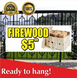 Firewood 5 Banner Vinyl Mesh Banner Sign Many Sizes Wood Split Cord Seasonal