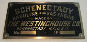 Schenectady Gasoline Gas Engine Brass Tag Antique Hit Miss New old stock