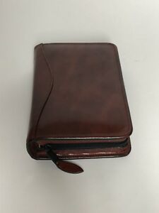 Scully Leather Italian Mahogony 6 Ring Zip Organizer Weekly Agenda Planner
