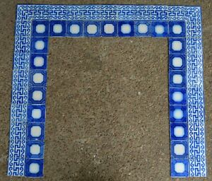 French Antique Fireplace Pas De Calais Desvres 54 Tile Set C1870