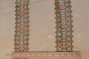 French Antique C1870 Silk Brocade Fabric Pink Roses Heavy Gold Metallic Stripe