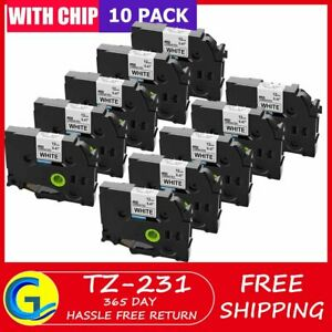 12mm Tze 231 Black On White Lable Tape Compatible For Brother P touch 10pk