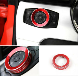 Aluminium Red Headlight Switch Knob Ring Trim For Ford Mustang Gt V6 2015 2018