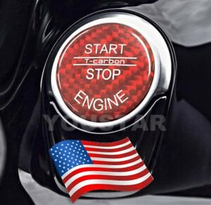 Us Stock Genuine Carbon Red Cover For Bmw Keyless Go Engine Start Push Button
