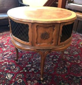Carved Wooden Vintage Leather Top Drum Table 32 D X 31 H