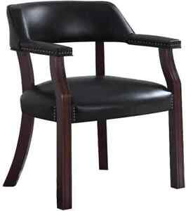 Black Leatherette Upholstered Dark Cherry Office Chair With Nail head Trim 411k
