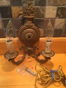 Vintage C B M Co Wall Solid Brass Light Sconce Fixture No 3422