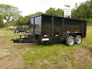 New 7x14 Ft Dump Trailer W 4 Or 2 Sides 14k Gvwr Tandem Axle In Stock Now
