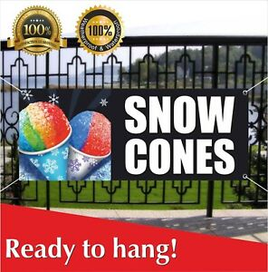 Snow Cones Banner Vinyl Mesh Banner Sign Many Sizes Shaved Ice Balls Snowcone