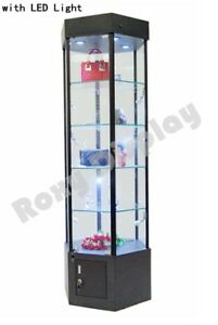 Tower Led Black Display Showcase Store Fixture Assembled W lights sc wl25bk